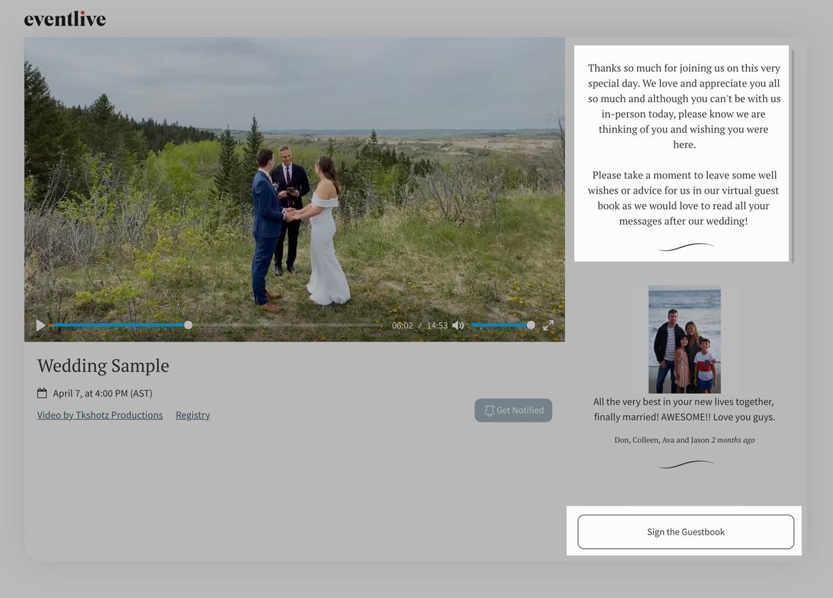 eventlive virtual guestbook