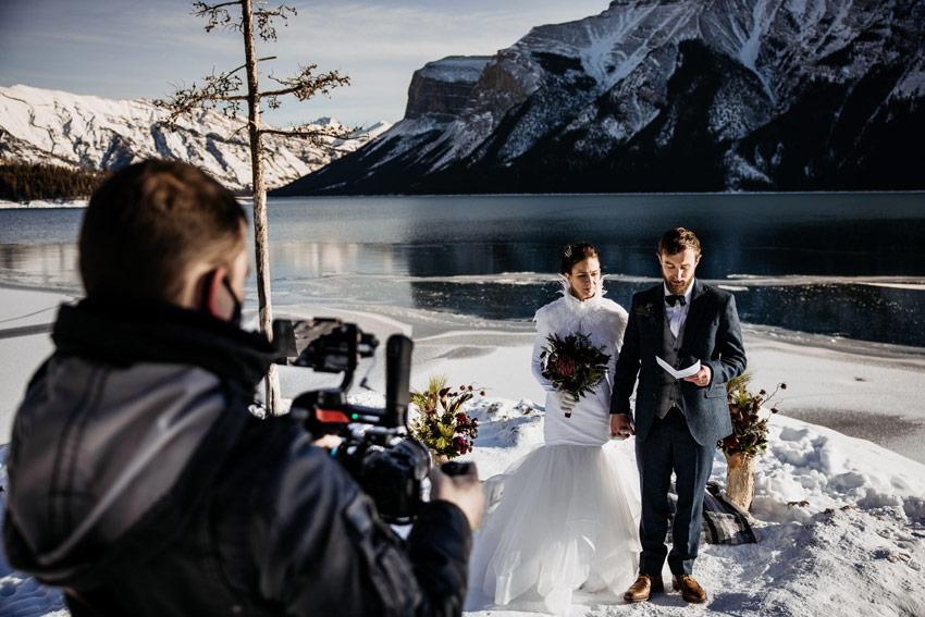 wedding videographer live streaming a wedding