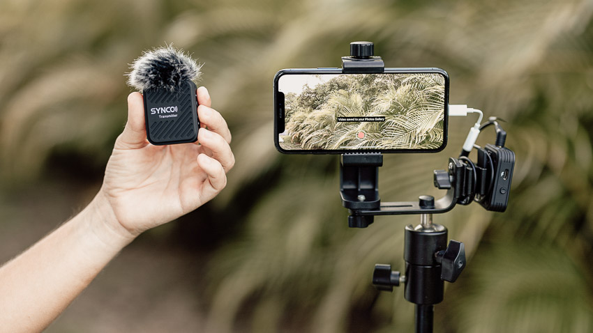 live streaming gear: phone setup with a wireless microphone