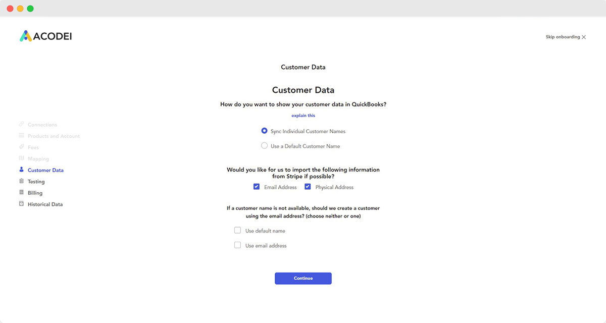 onboarding page for handling customer data