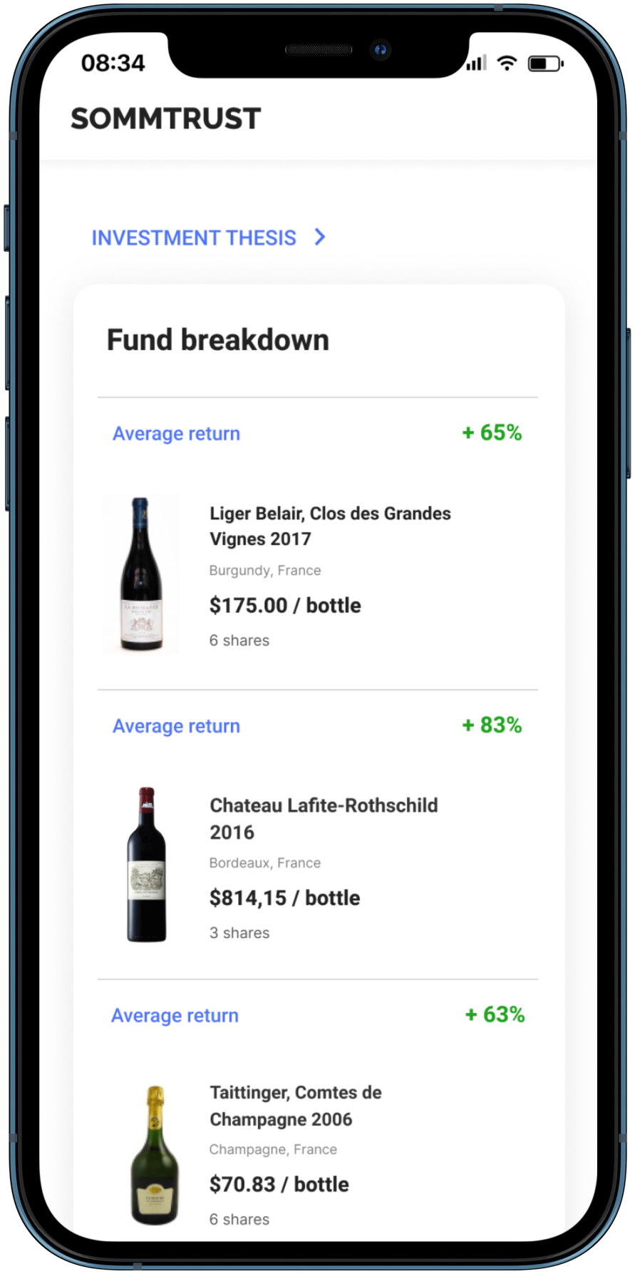 Mock up Iphone with list of wines.