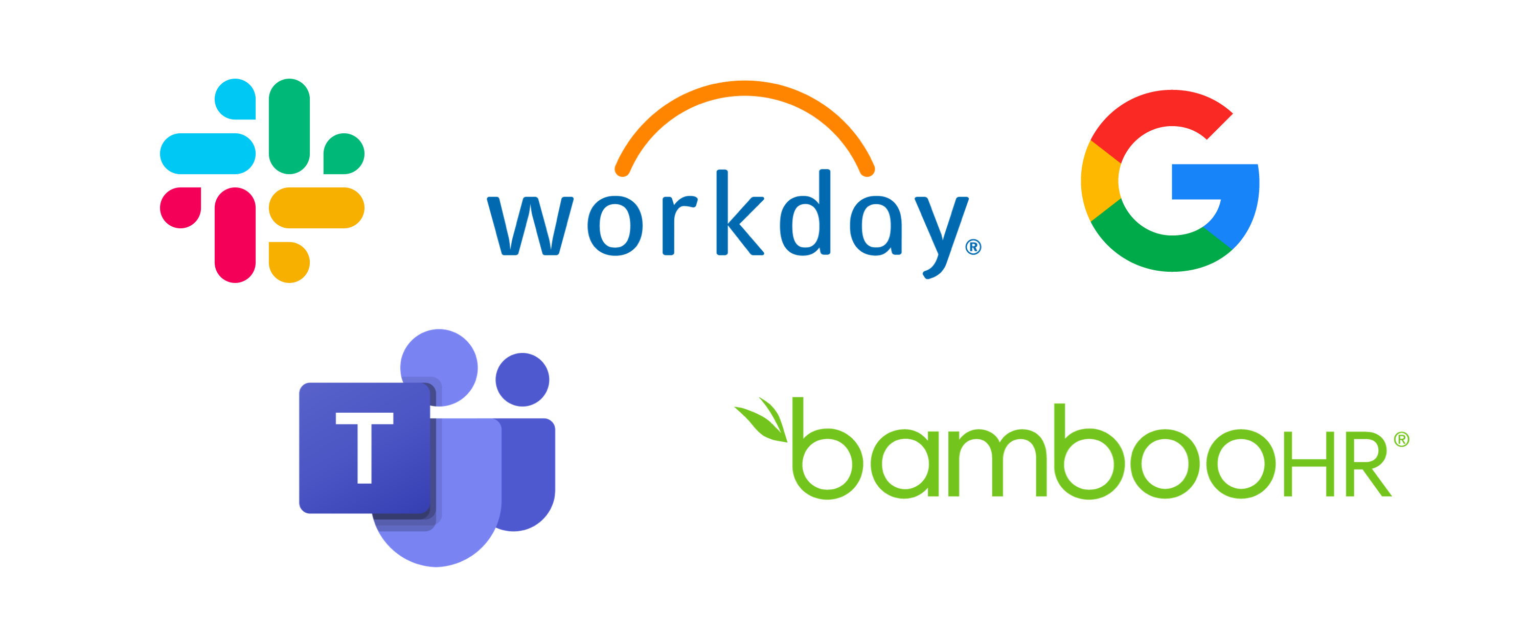 A collection of company logos depicting the HR & workflow tools that frankli integrates with to provide its services