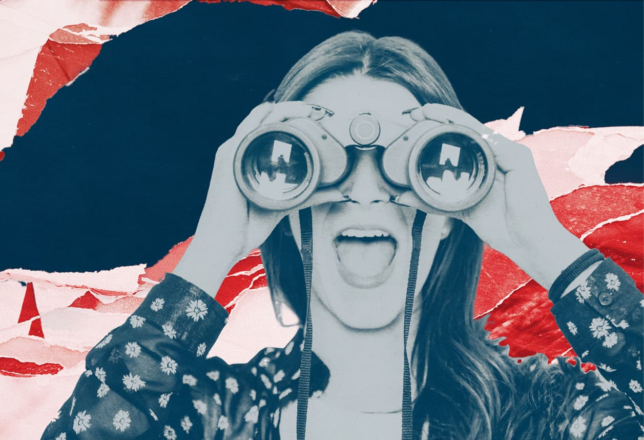 Frankli home page hero image depicting a women looking through a set of binoculars