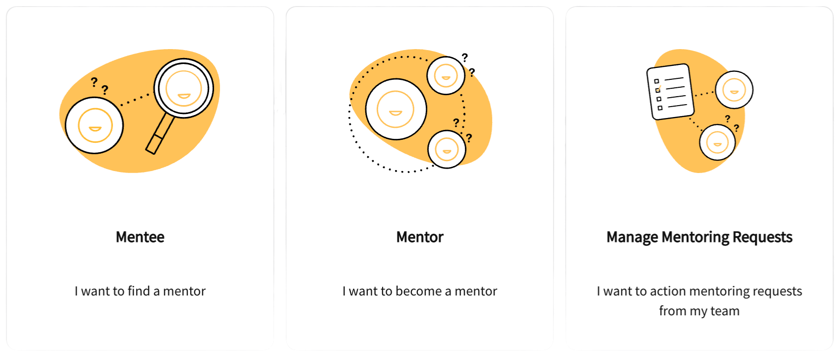 Product screenshot showing mentoring functionality available in the frankli platform