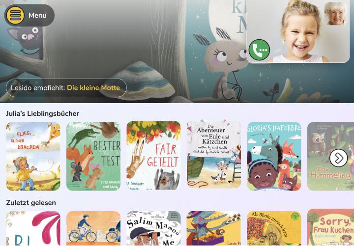 Digitale Kinderbuch-Bibliothek mit Videochat
