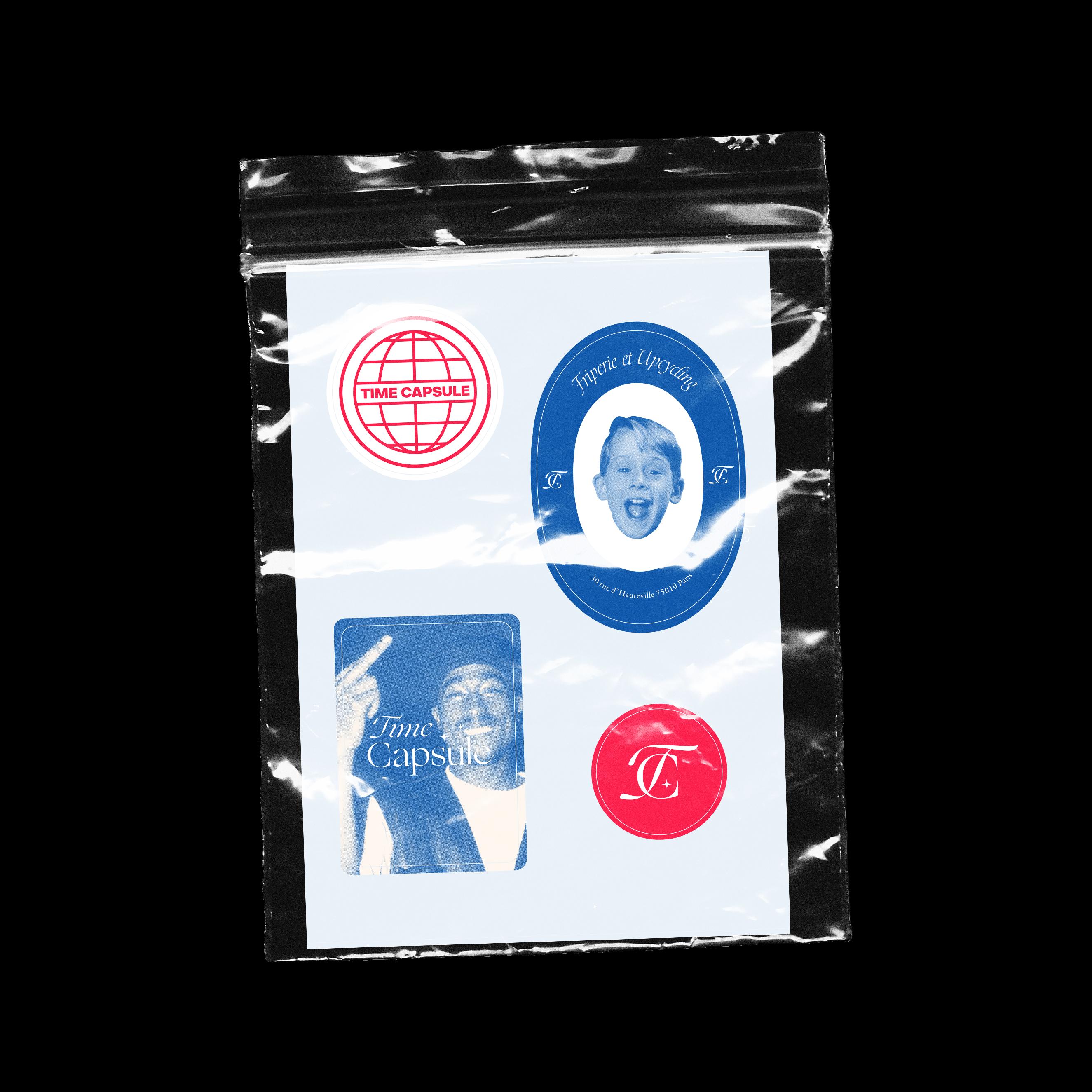Stickers de l'identité visuelle de la friperie vintage Time Capsule