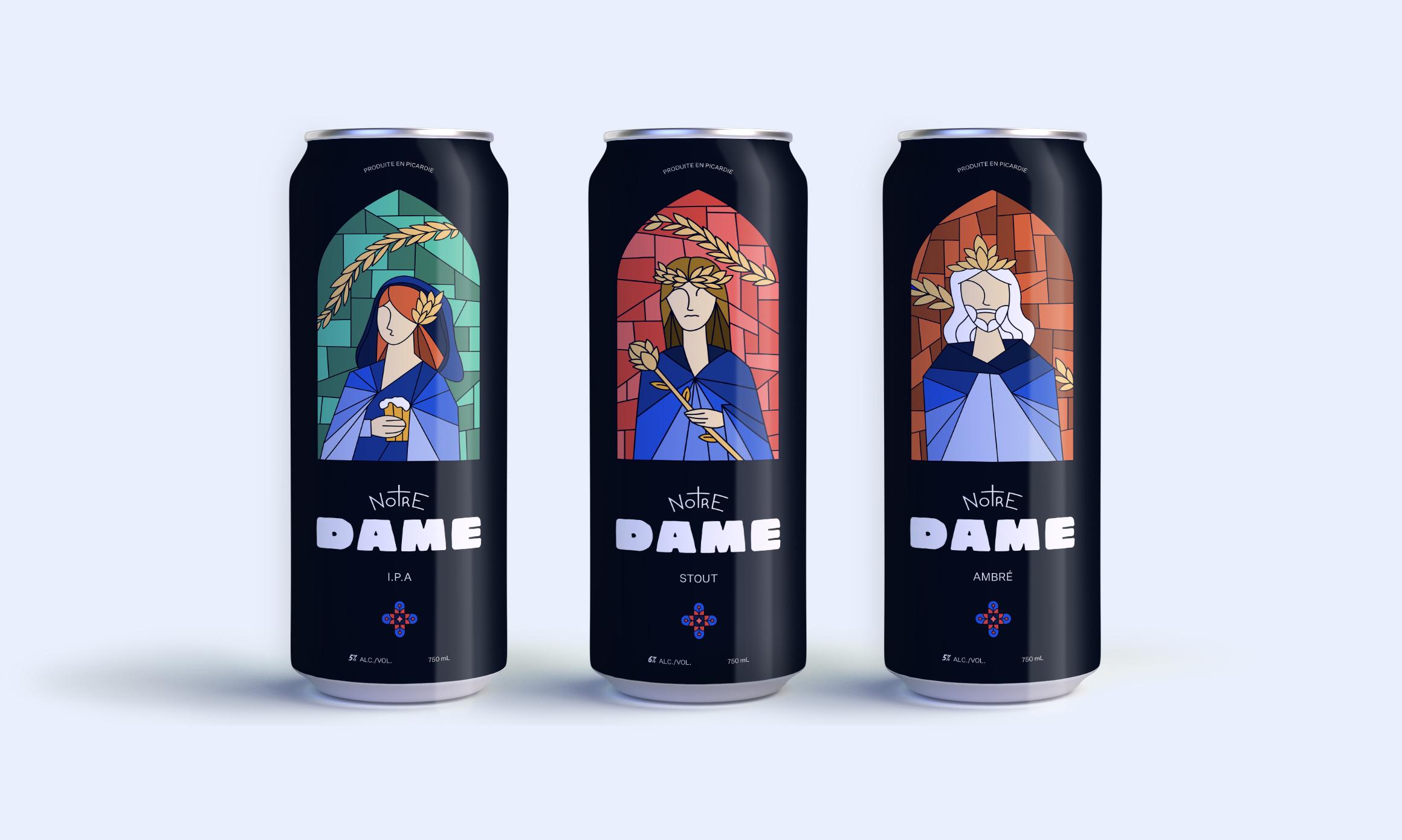 Packaging de l'identité visuelle de la bière artisanale Notre Dame