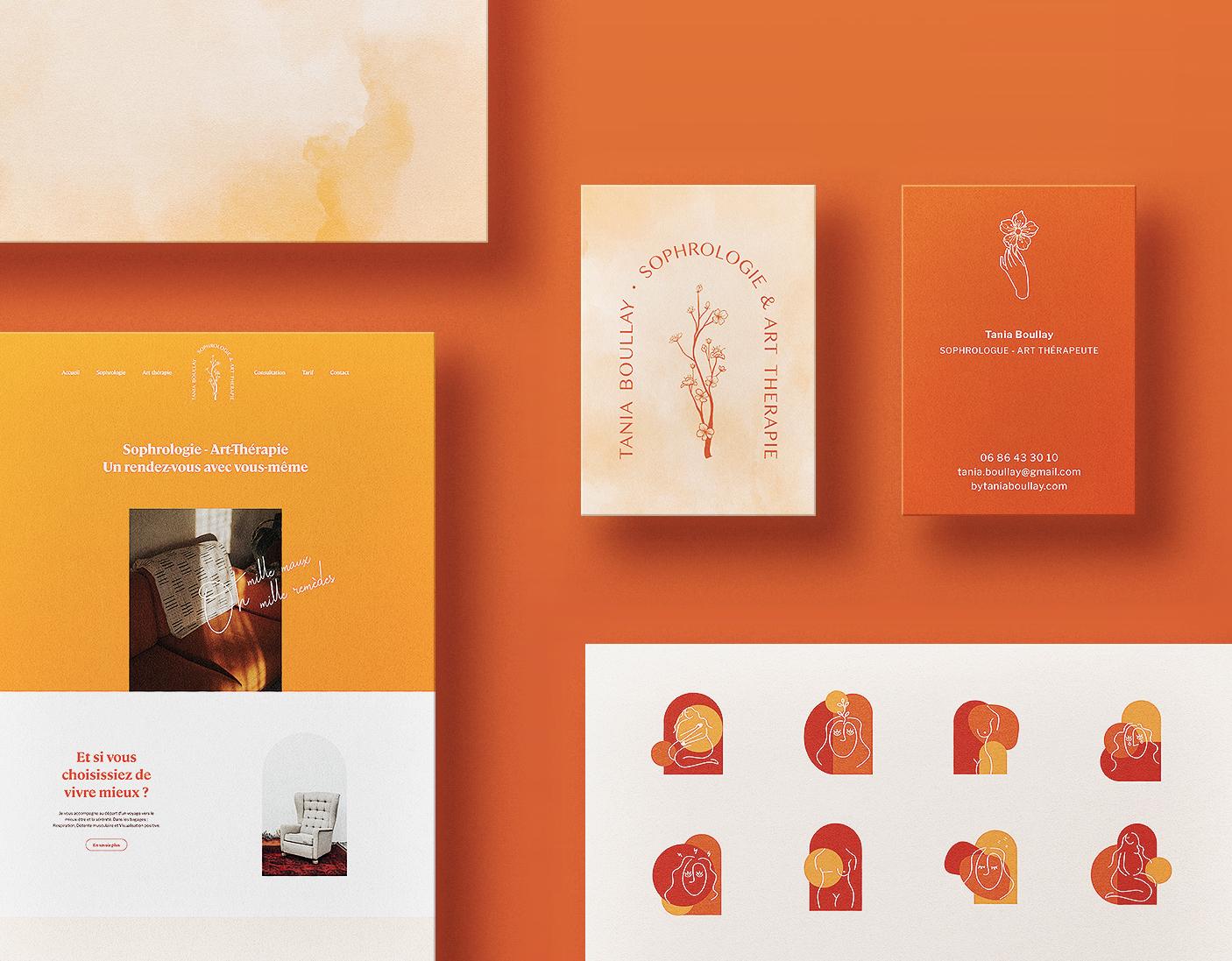 Présentation de l'identité visuelle de la sophrologue et art-thérapeute Tania Boullay