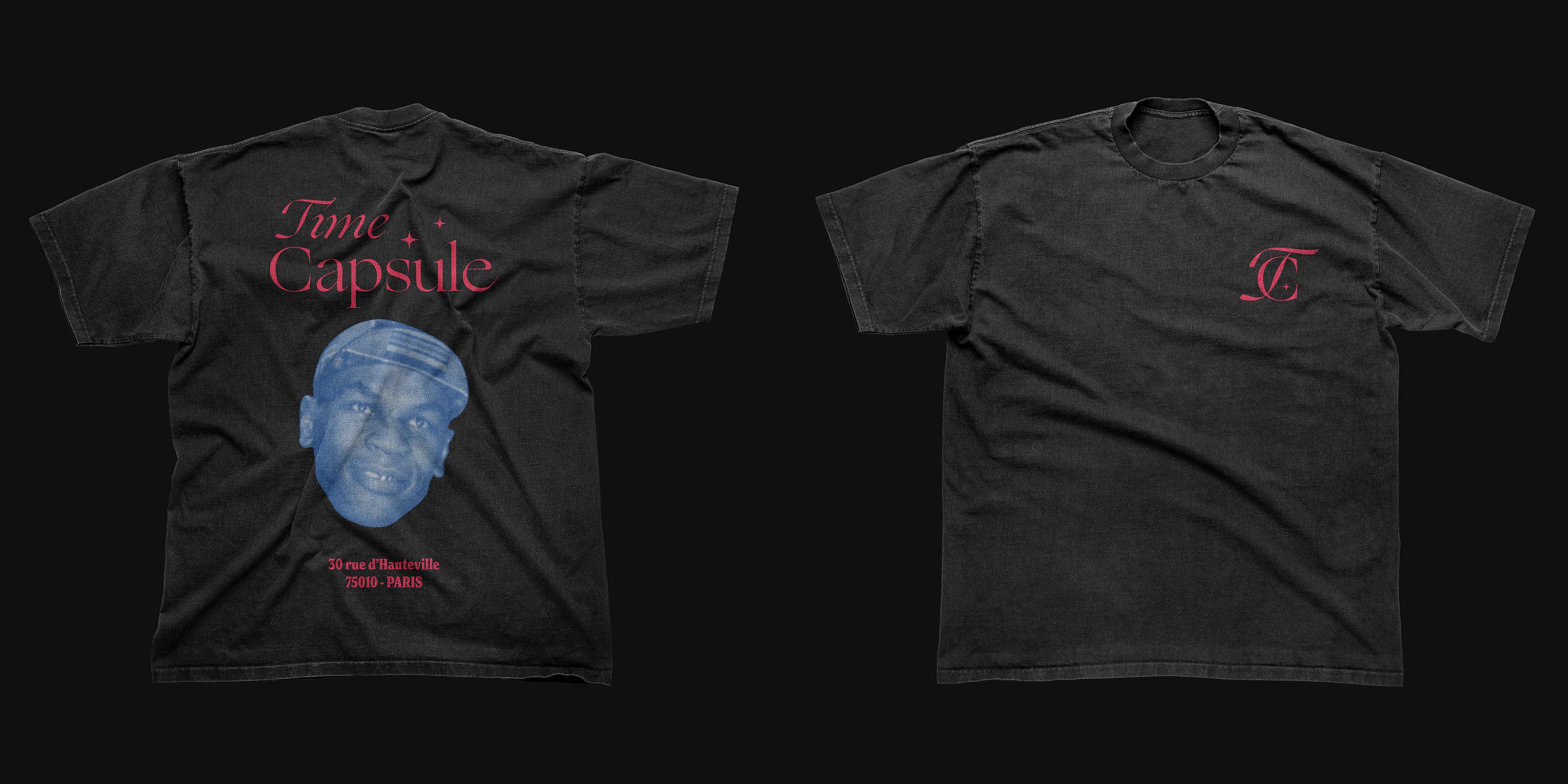 t-shirt de l'identité visuelle de la friperie vintage Time Capsule