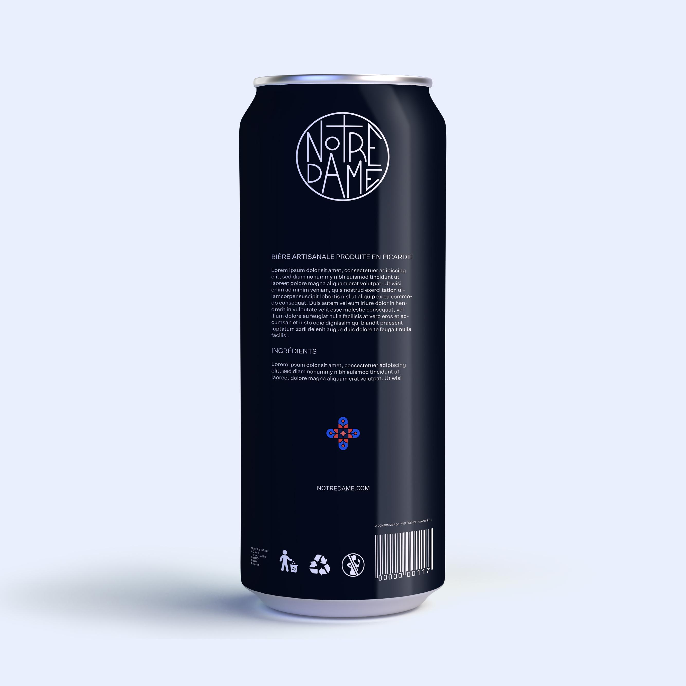 Packaging de l'identité visuelle de la marque de bière artisanale Notre Dame