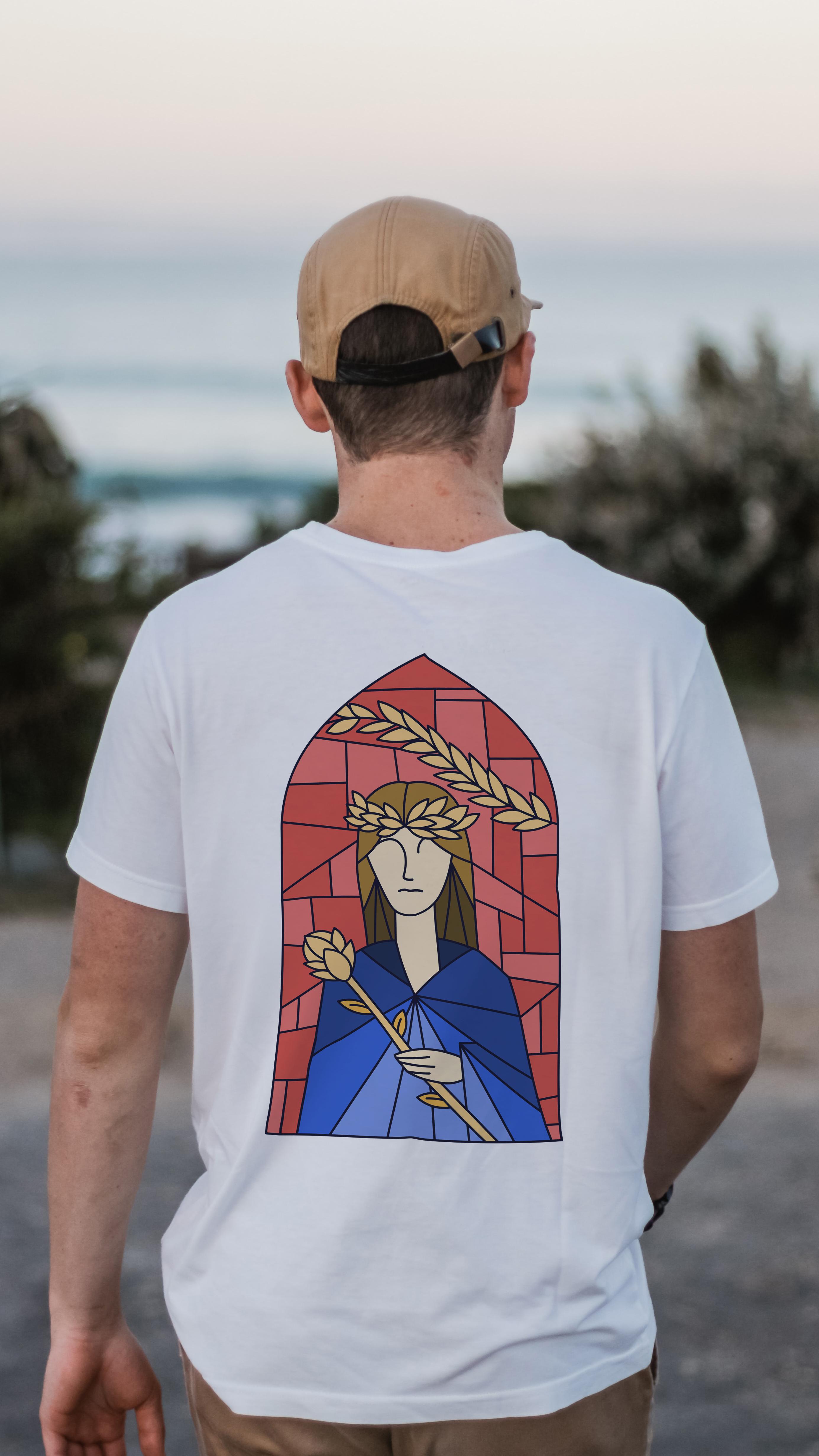T-shirt de l'identité visuelle de la marque de bière artisanale Notre Dame