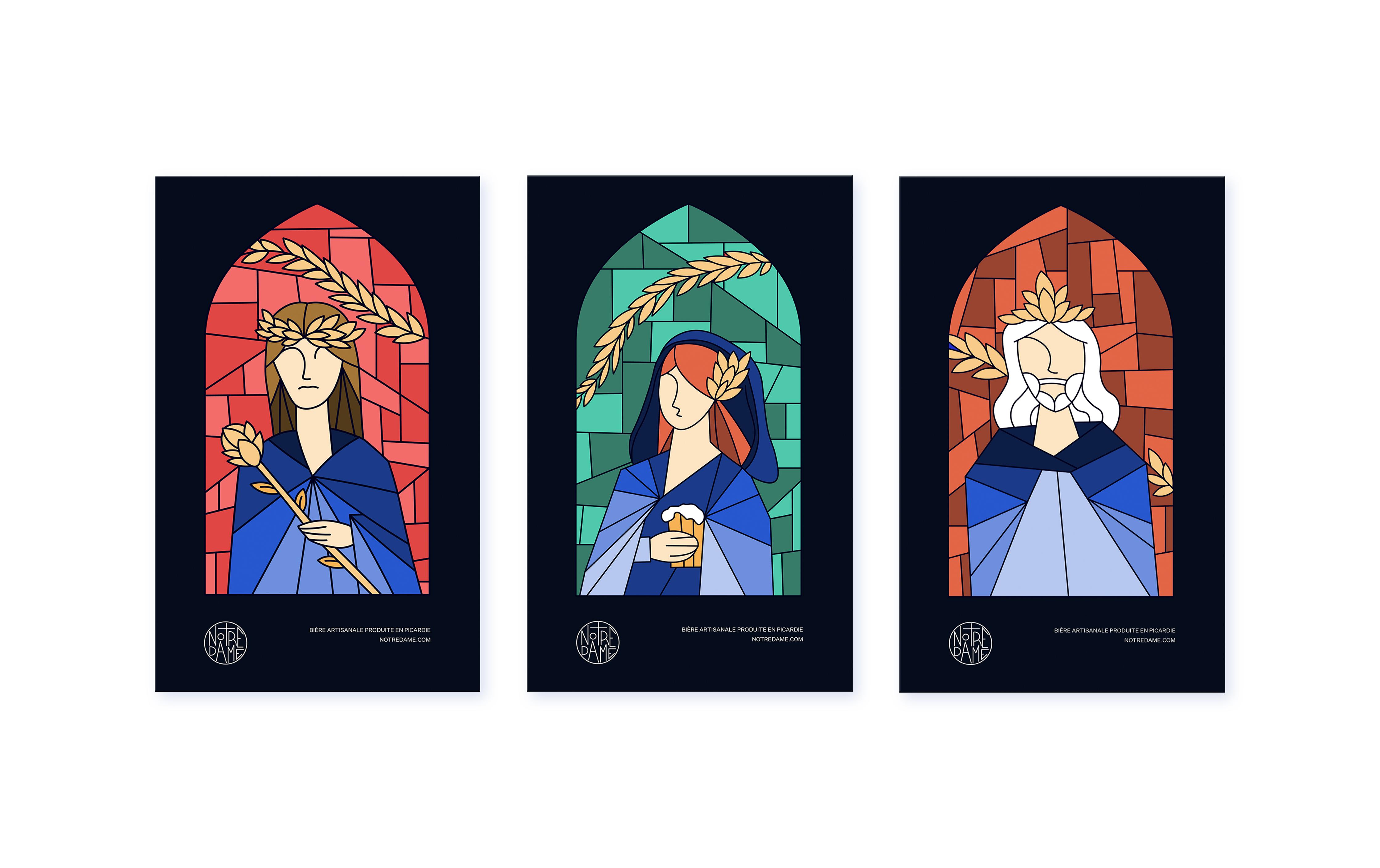 Carte postale de l'identité visuelle de la marque de bière artisanale Notre Dame