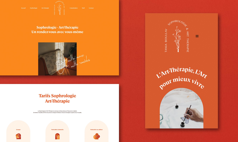 Site internet de l'identité visuelle de sophrologie et art-thérapie de Tania Boullay