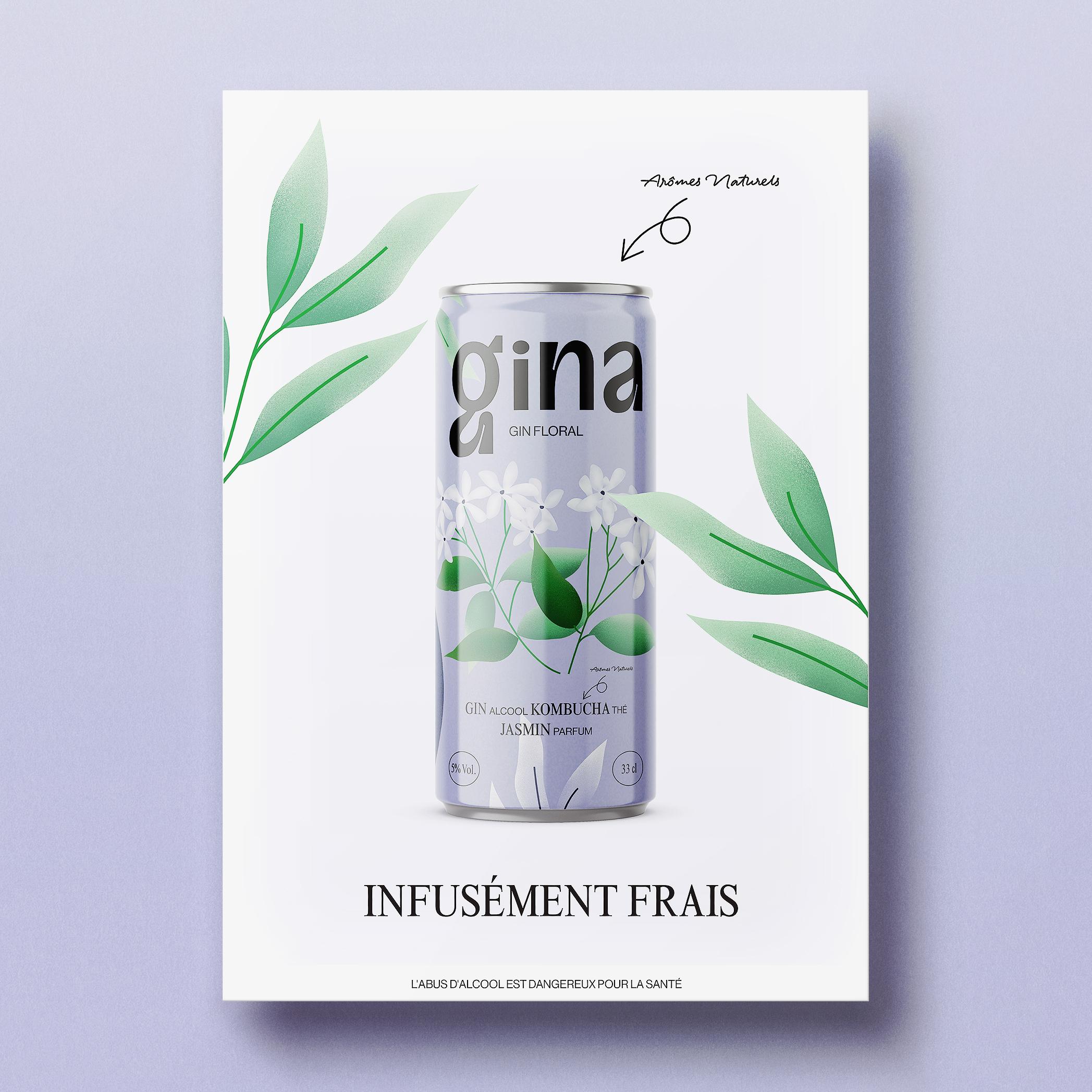 Gina identité visuelle et packaging boisson alcoolisée à base de Gin