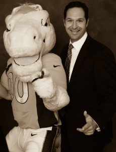 Marc Gutman with Horse Mascot