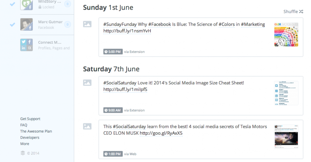 BufferApp has a great dashboard which displays all of your scheduled posts