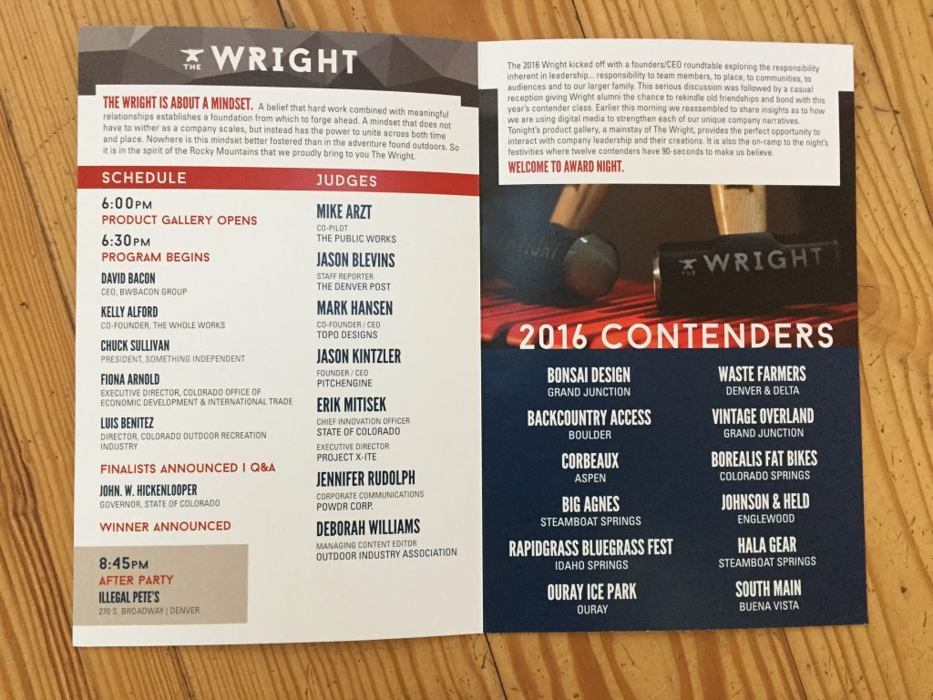 The Wright 2016 Program - Judges & Contenders