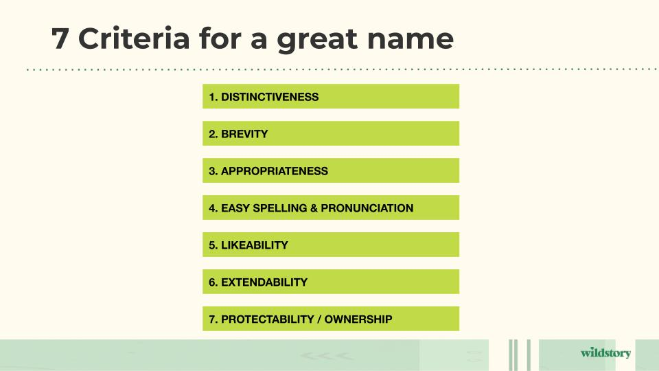 7 Criteria for a great name.