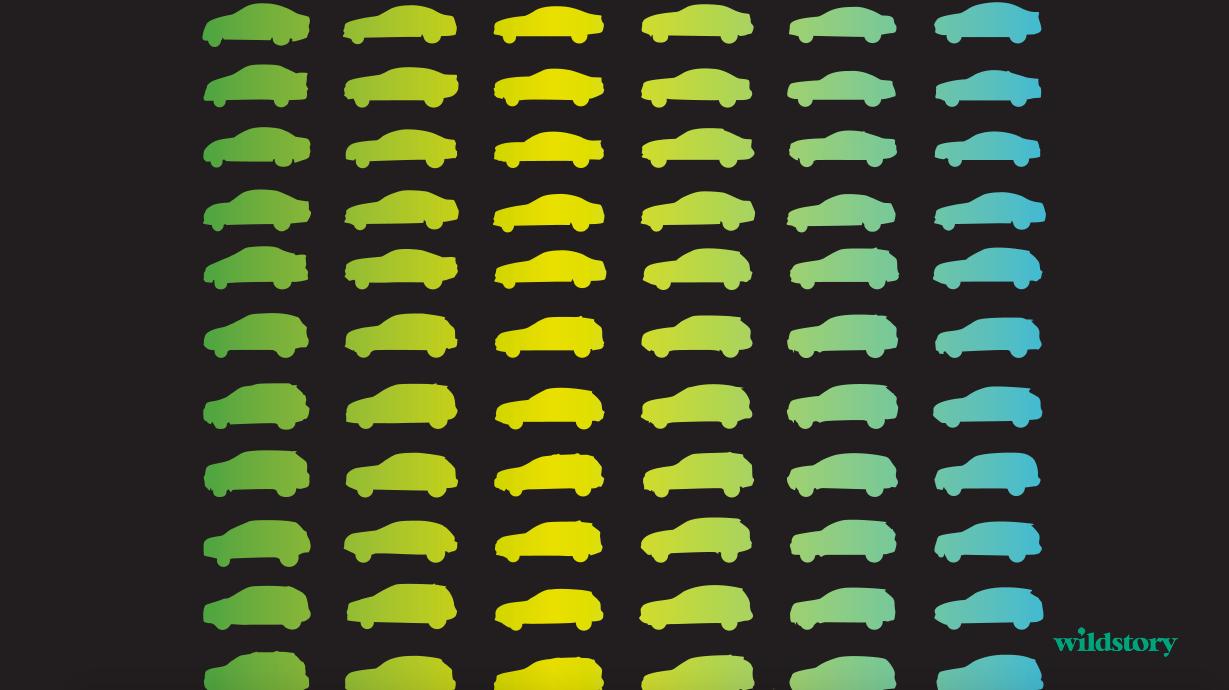 Gradient silouhette of cars.