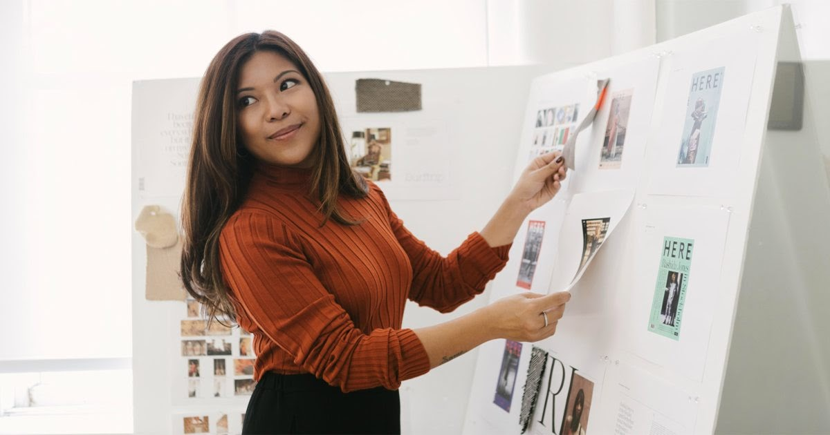 Woman working with board