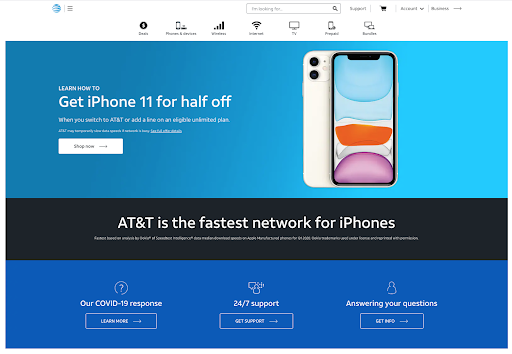 AT&T Home Page.