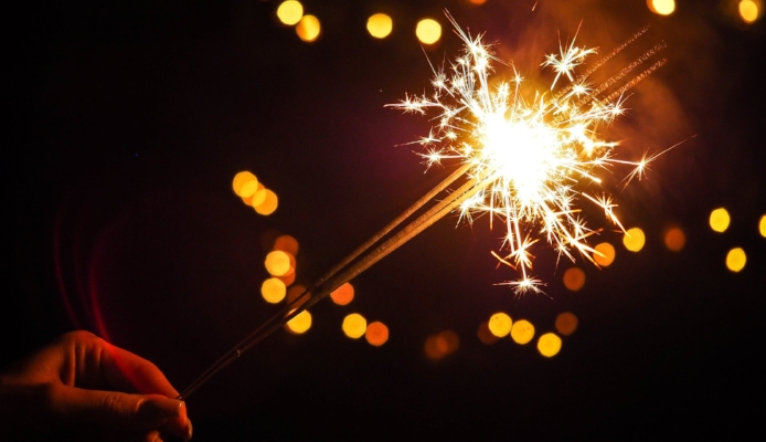 Party sparklers in the night