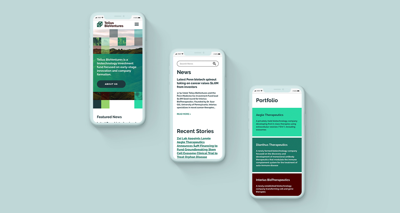 A series of phones with a website made from green squares and rectangles