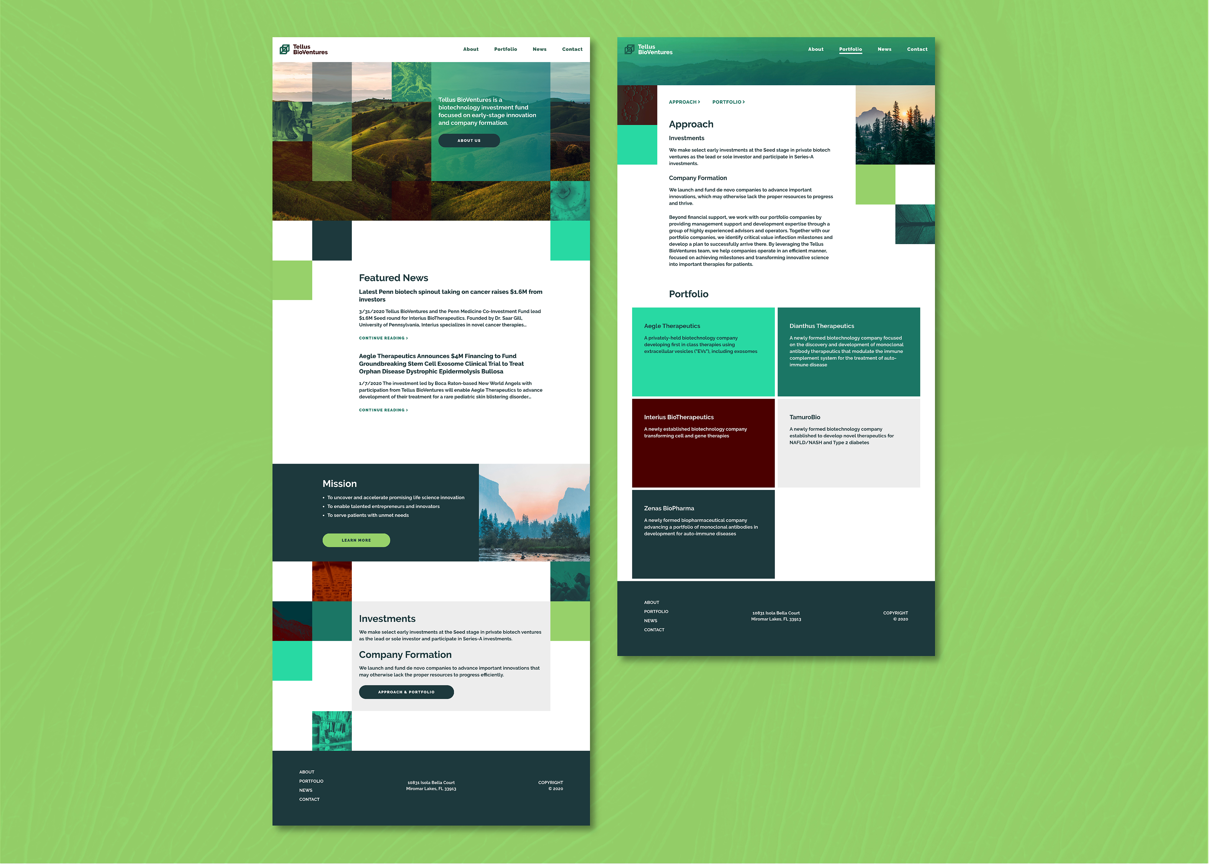 Two website screenshots featuring a series of phones with a website made from green squares and rectangles