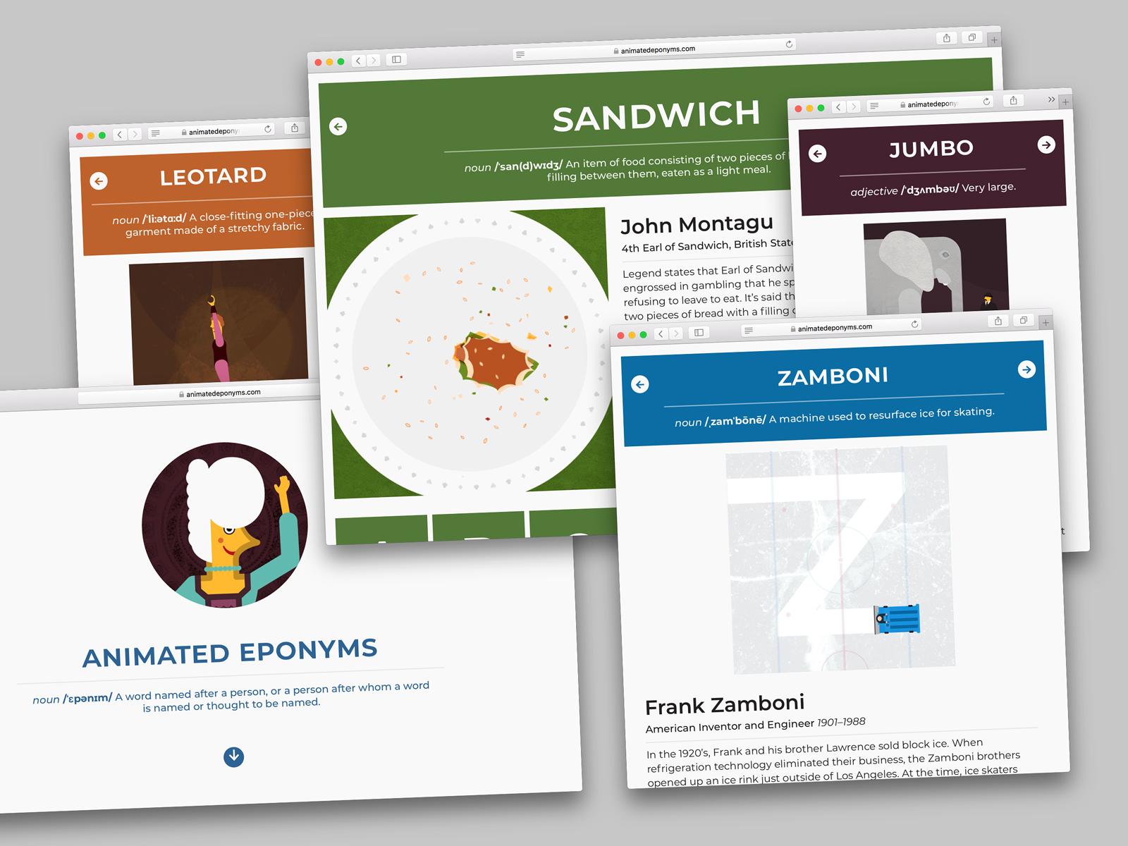 A variety of screenshots of a website design