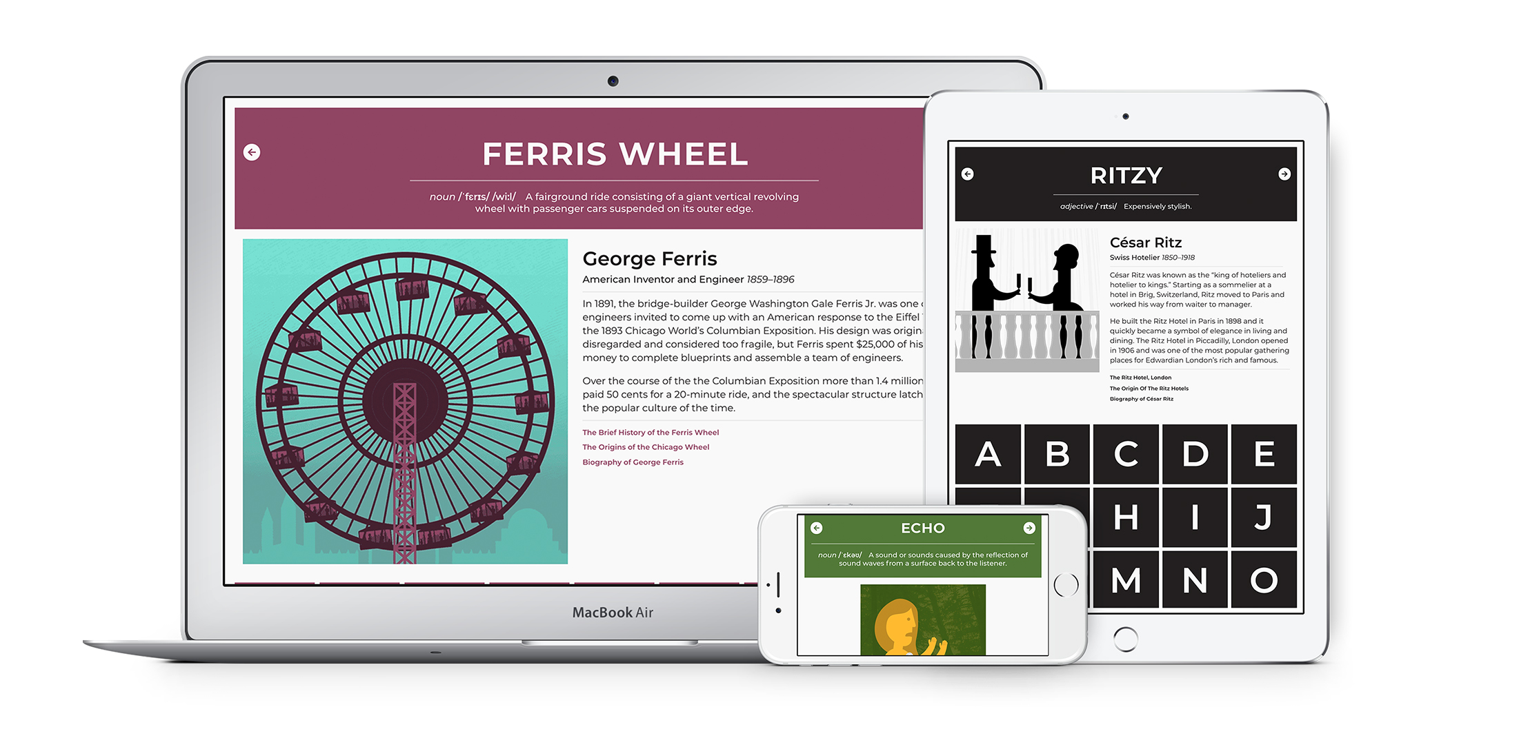 Image of website mockups featuring a ferris wheel and couple toasting
