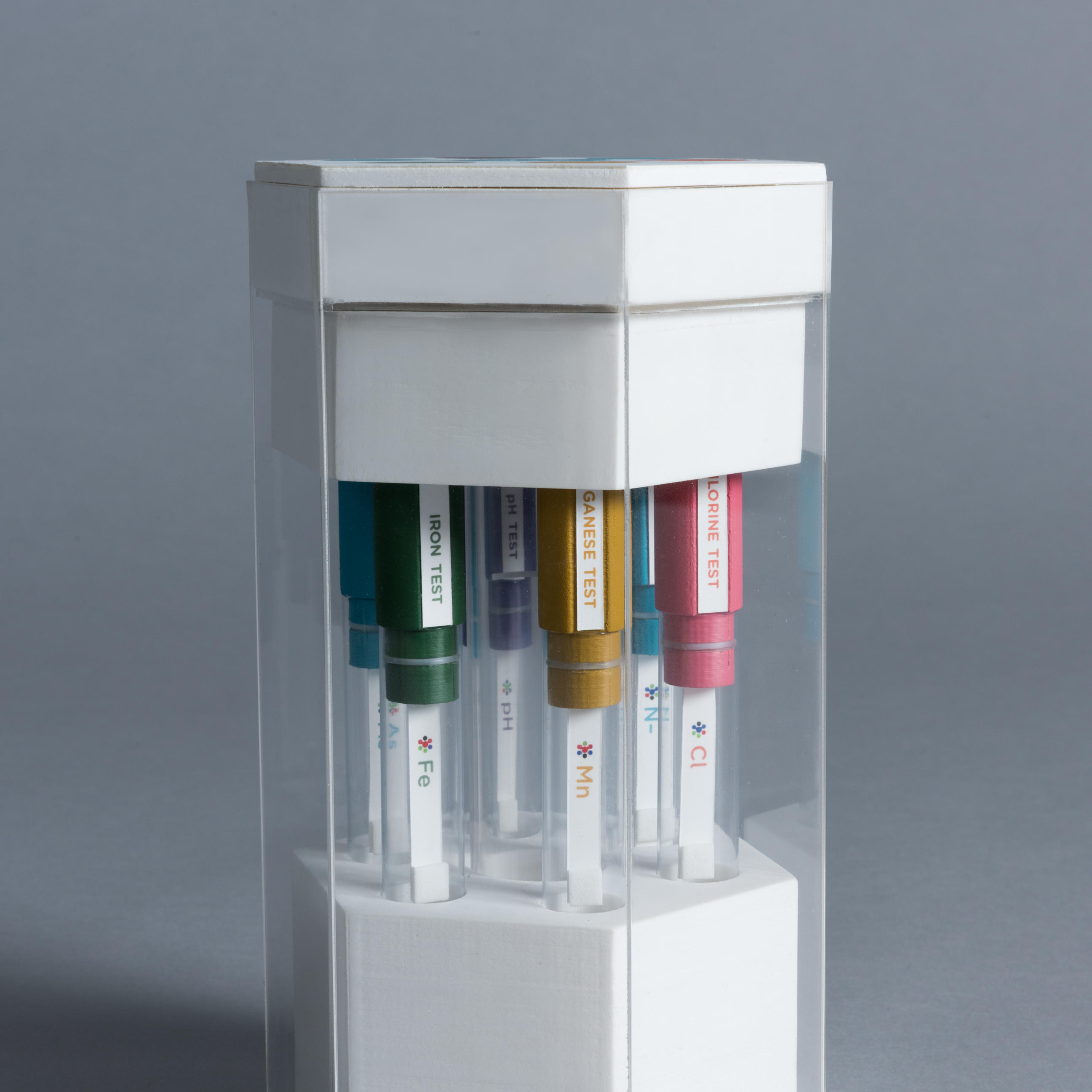 Side view of test tubes inside a hexagonal package