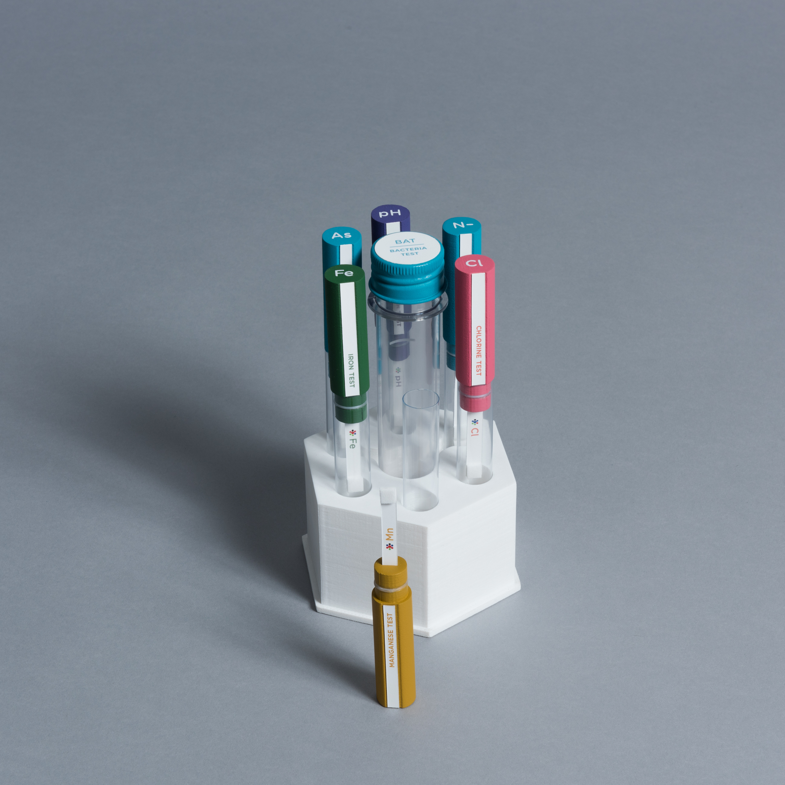test tubes inside a hexagonal package with one test removed