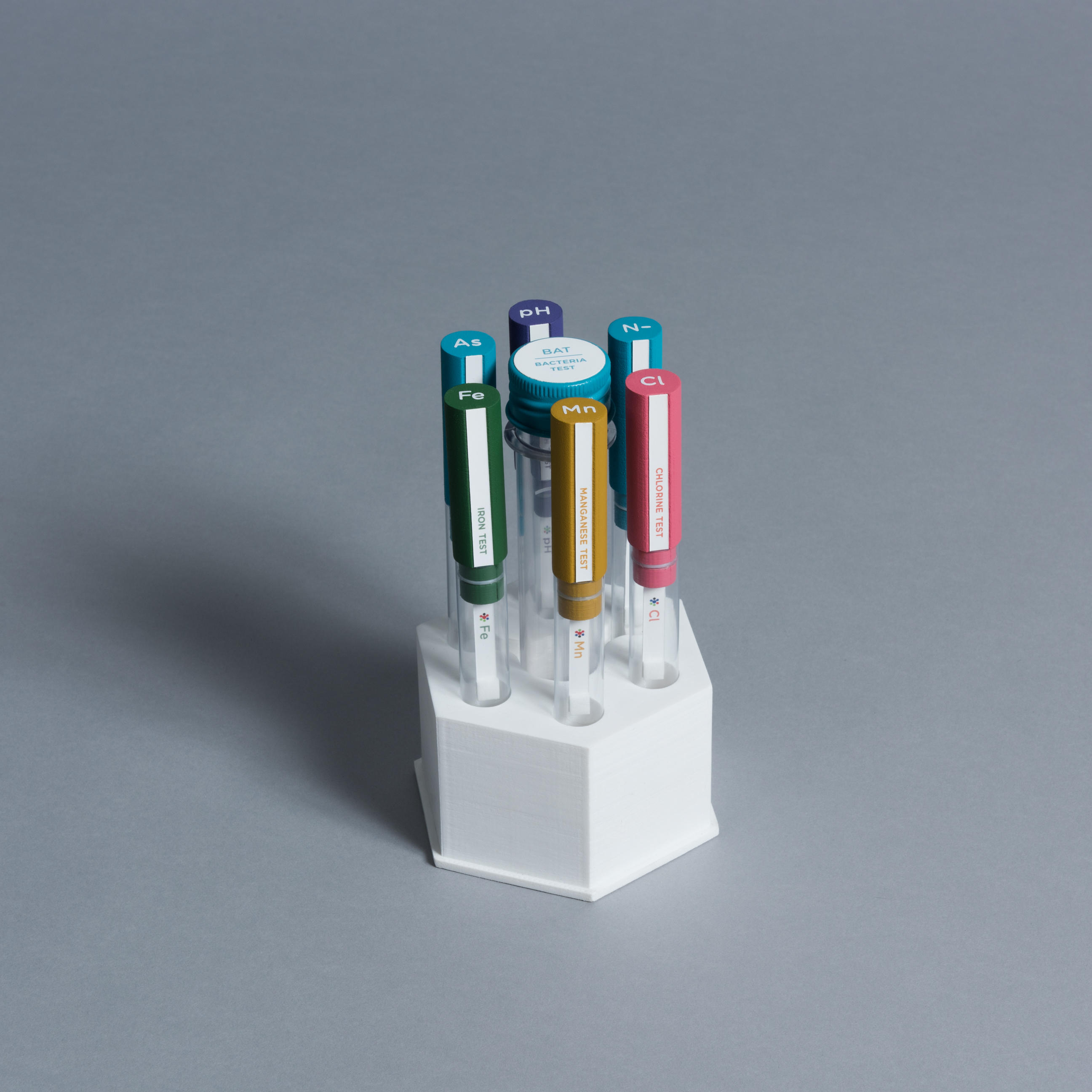 test tubes inside a hexagonal package