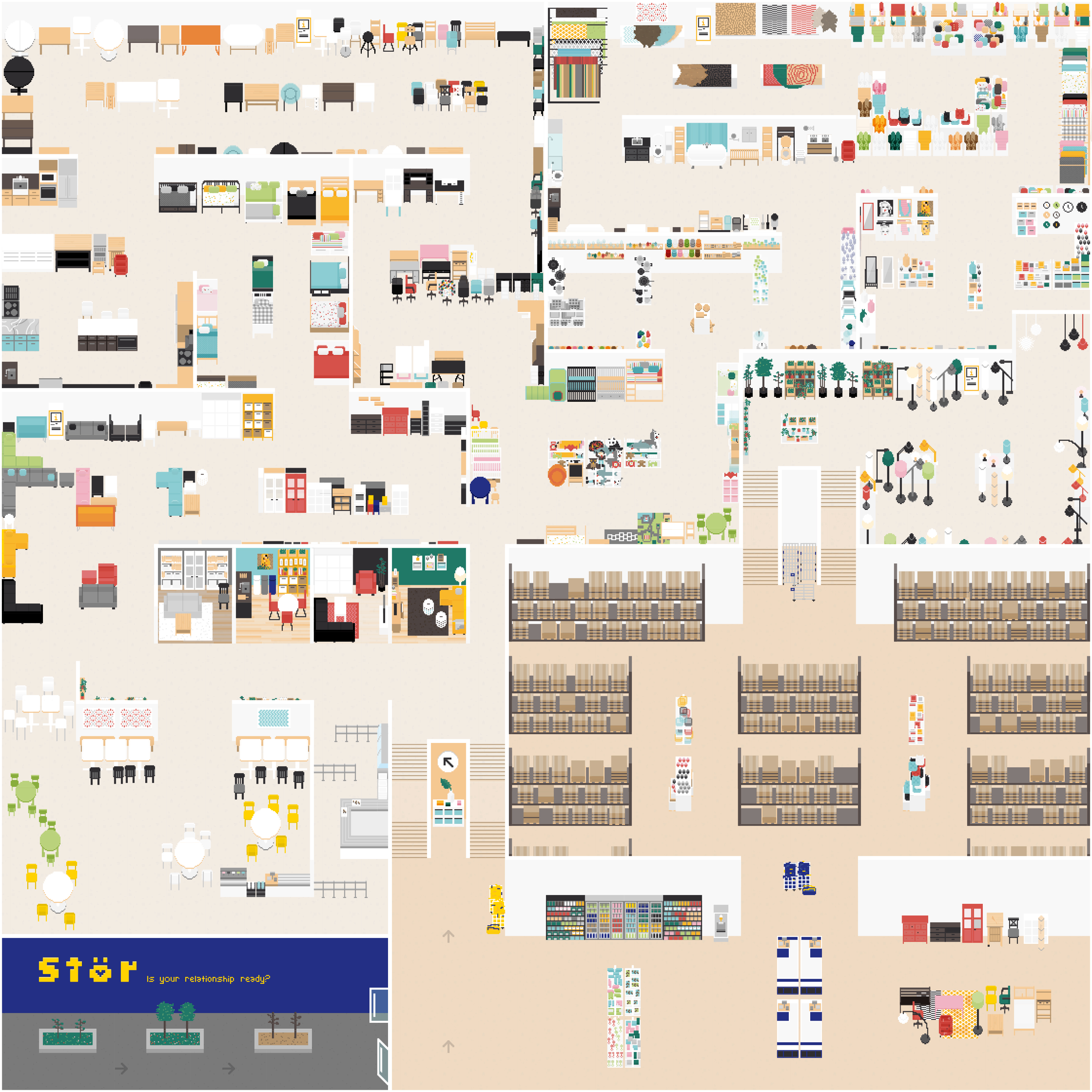 An overhead view of a pixelated IKEA store