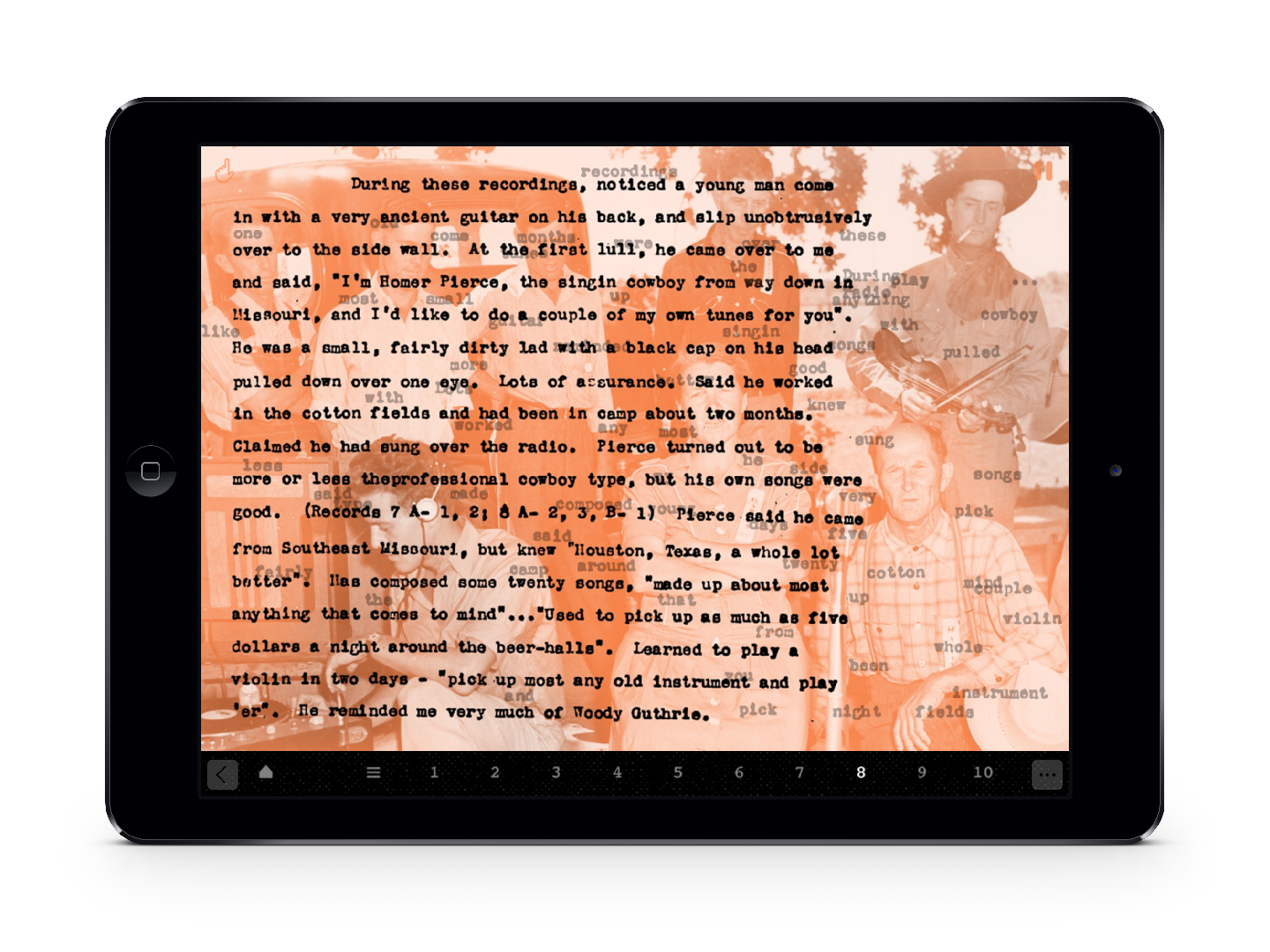 A screenshot of an ipad featuring text on an orange photo of a group of people