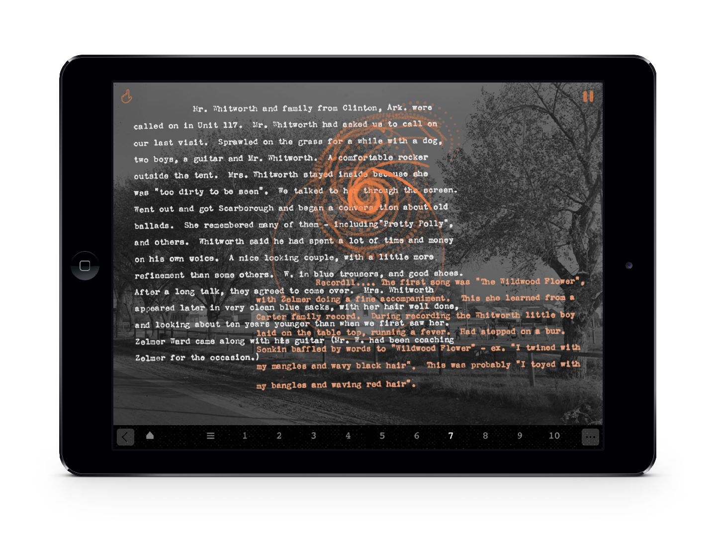 A screenshot of an ipad featuring text on a dark photo background
