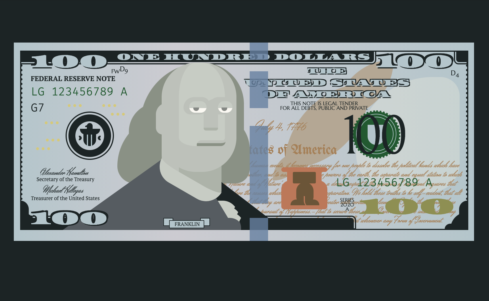 An illustration of a 100 dollar bill