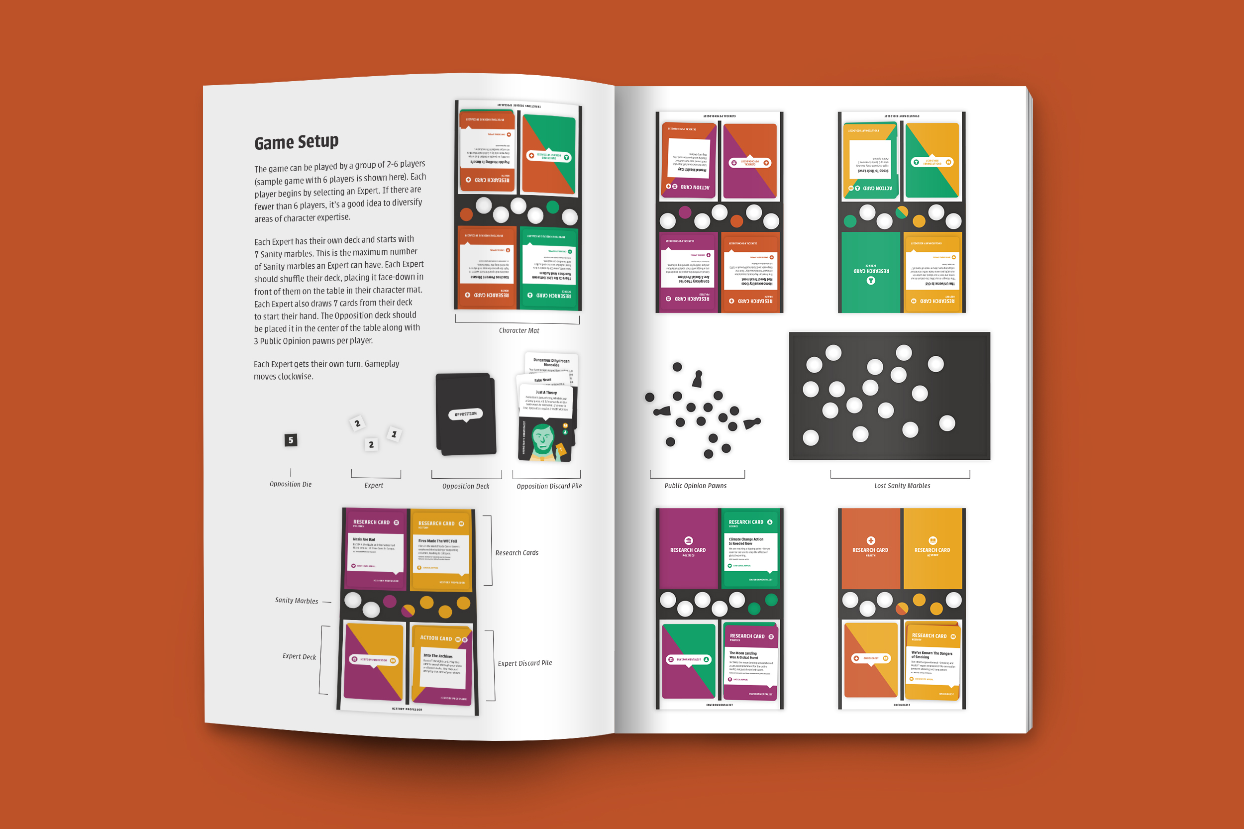 A booklet mockup featuring instructions on how to set up the game
