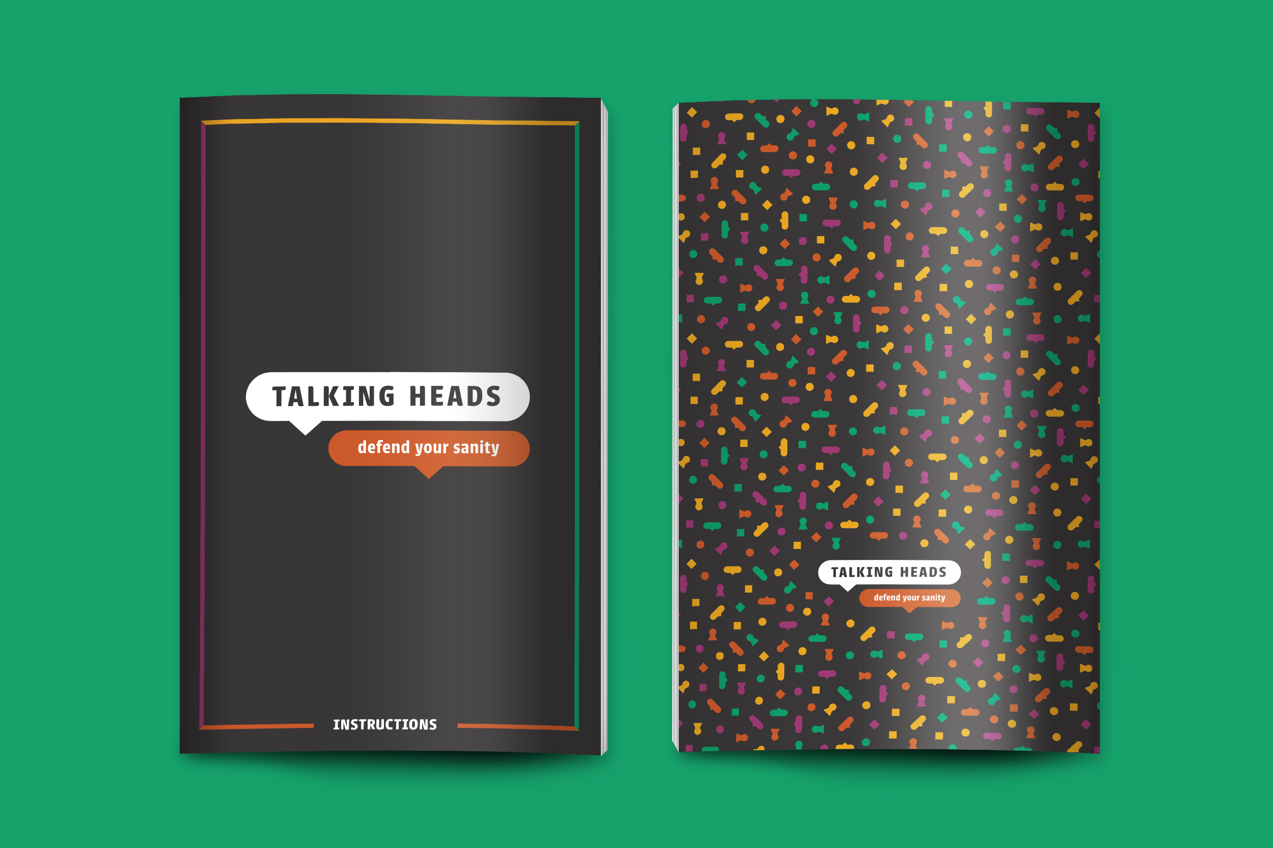 """A booklet mockup featuring a front and back cover and the text, """"Talking Heads, defend your sanity"""""""