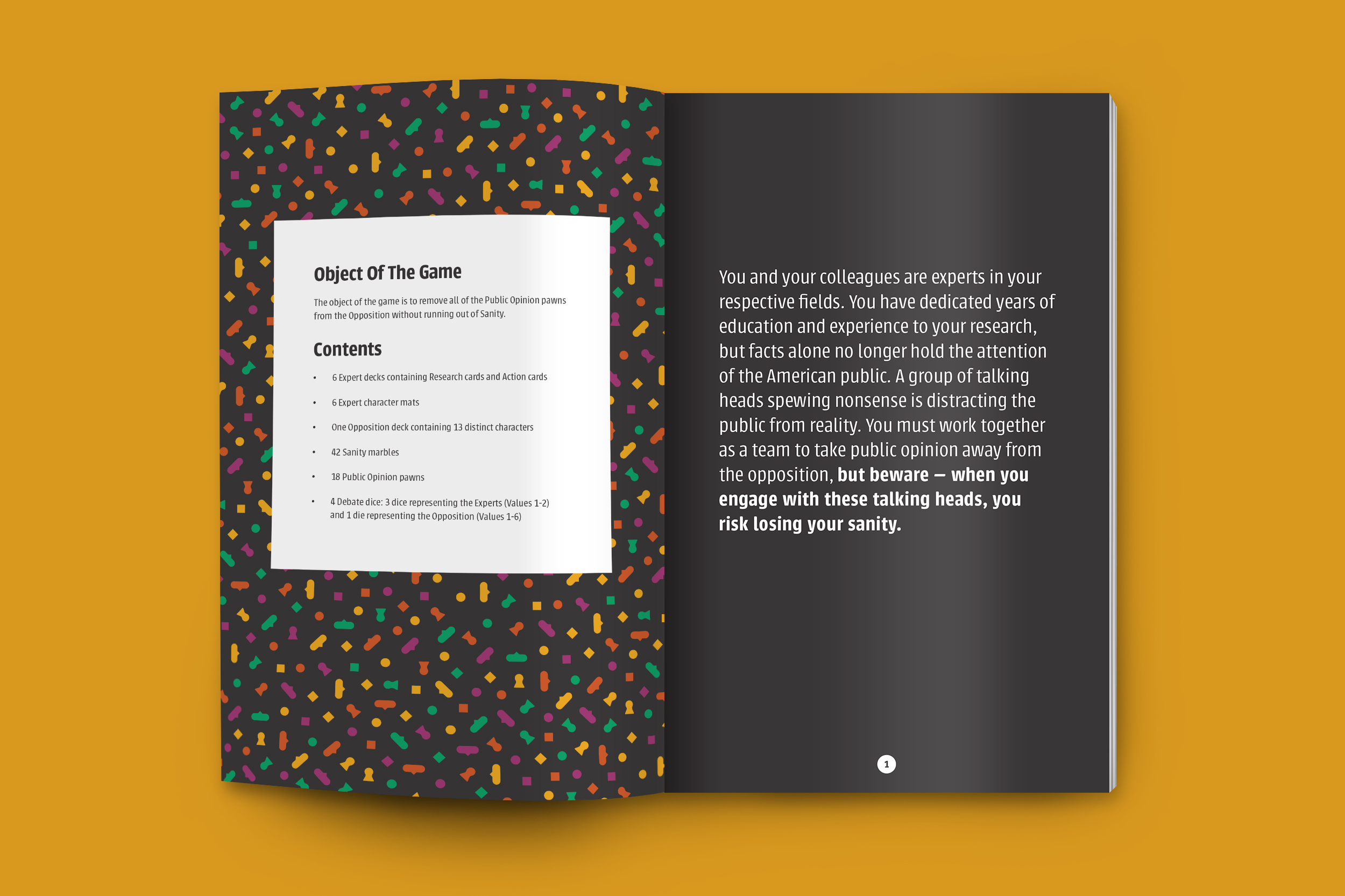 A booklet mockup featuring an explanation of the object of the game