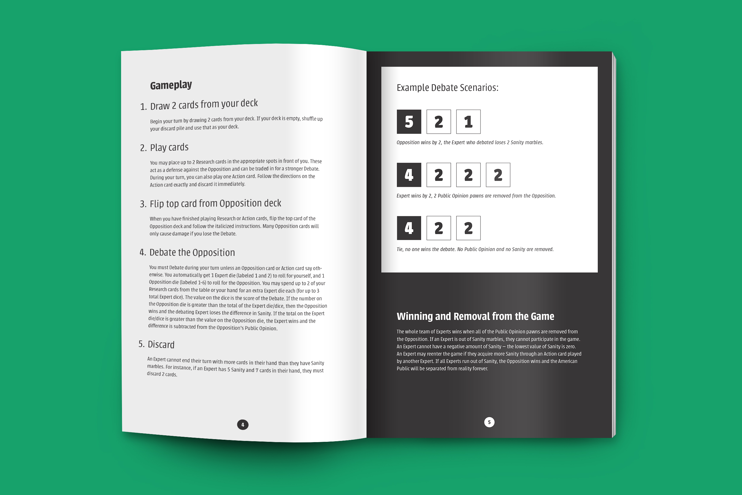 A booklet mockup featuring instructions on how to play the game