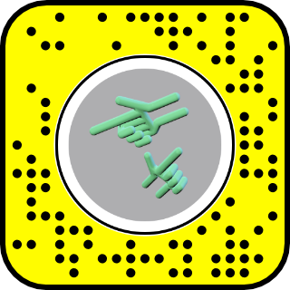 A snapcode with an image of two green hands
