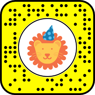 A snapcode with an image of a cartoon lion
