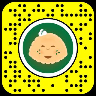 A snapcode with an image of a cartoon pierogi