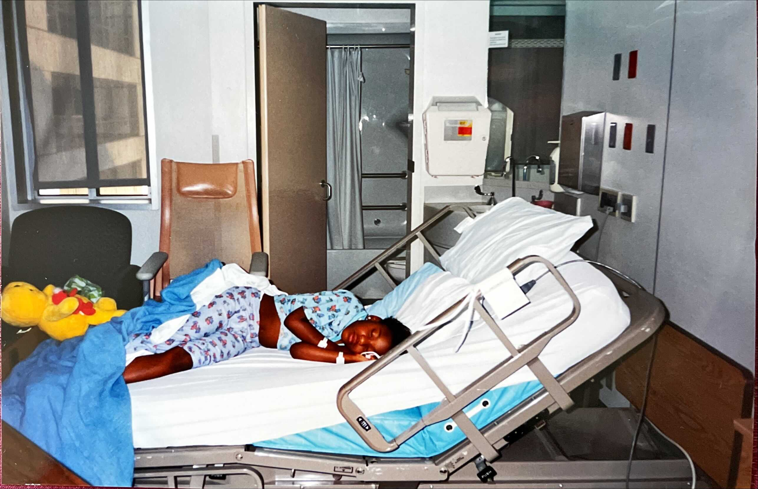 Young Jessica Mason in hospital bed