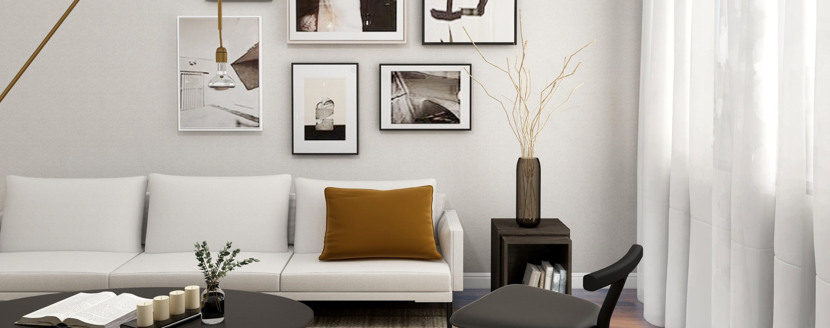 Image of Modern Living room situated in white colors
