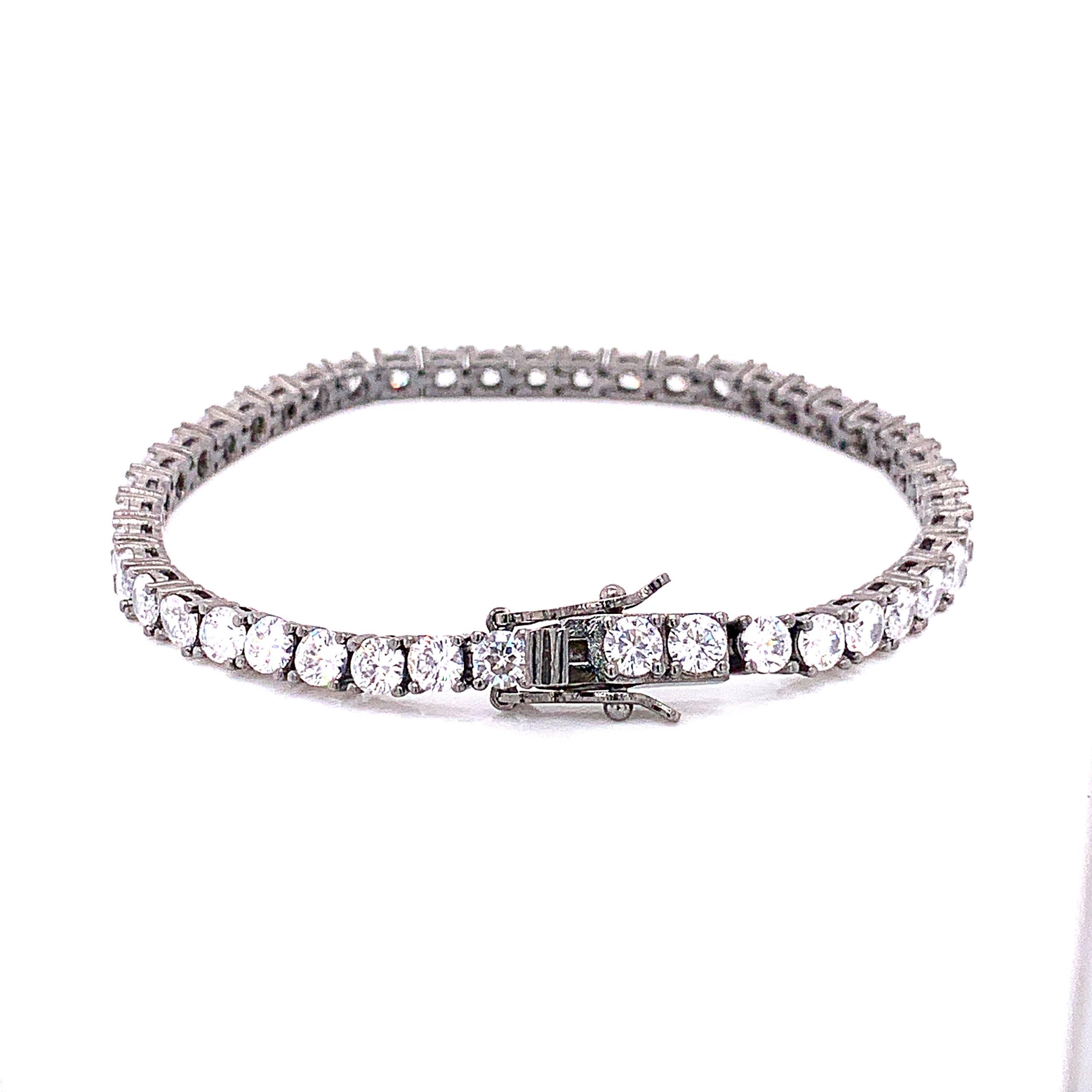 4mm White Topaz Tennis Bracelet