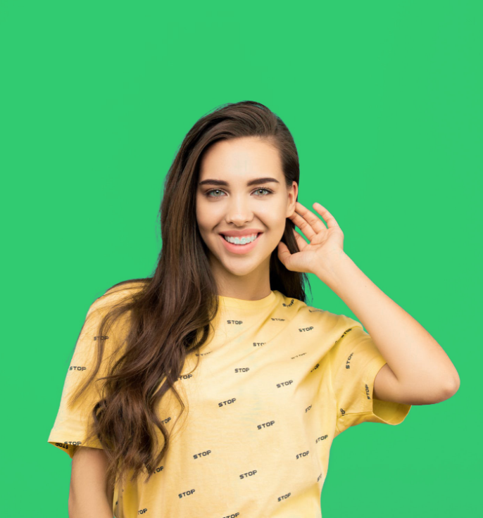 Woman posing with green background