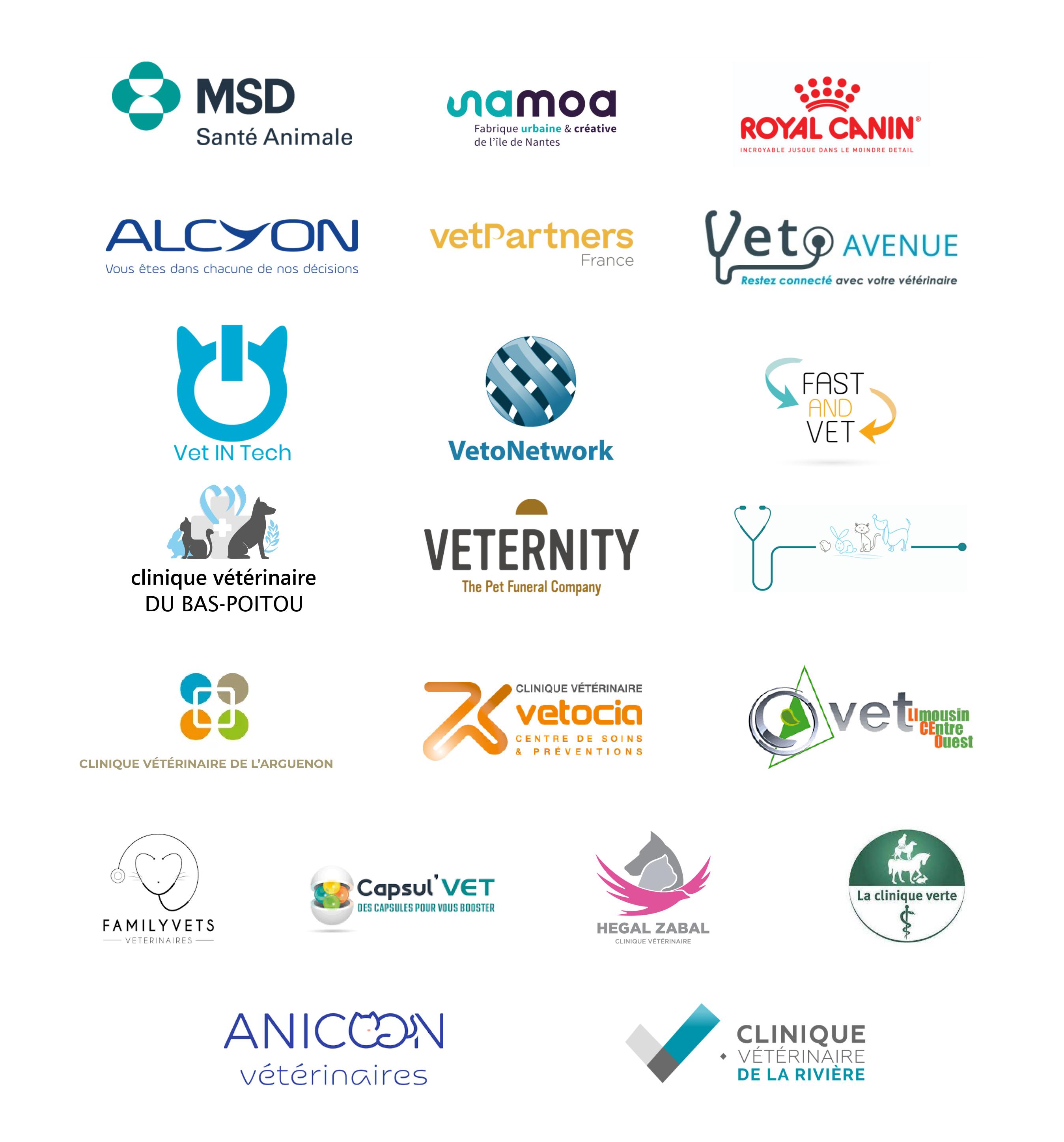 Mosaïque de nos clients, partenaires et cliniques vétérinaires.