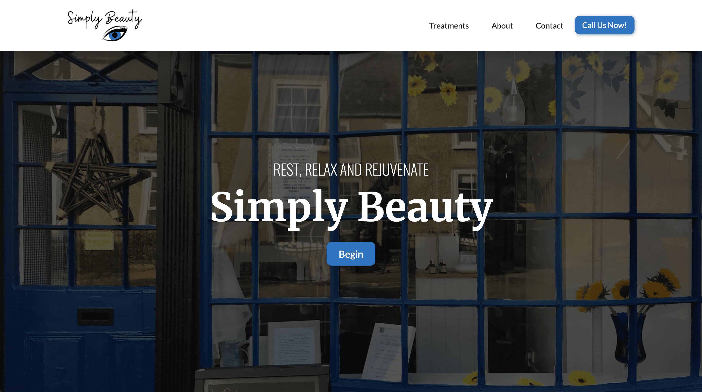 Simply Beauty website designed and built by Brett Hudson Freelance Web Designer and Webflow Developer